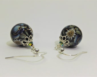 Japanese Tensha bead earrings, Victorian Style Jewelry, Blue and black Earrings, Vintage Inspired, mother's day gift