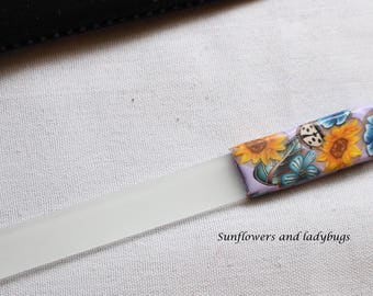 Large Glass Nail File Clay Ladybug Design