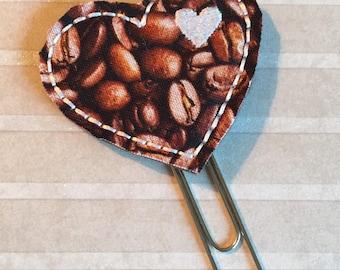 Felt Appliqué Coffee Bean Heart Planner Clip/Bookmark