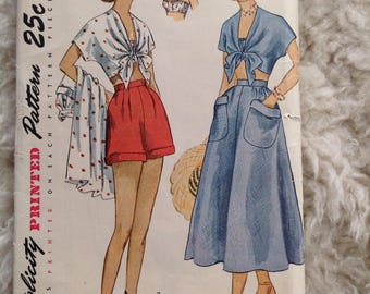 Vintage Simplicity 2871 Bra, Shorts, Top and Skirt - size 15