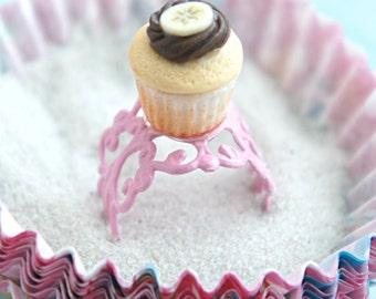 nutella banana cupcake ring- miniature food ring, cupcake jewelry