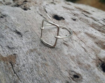 Dainty Ring, Silver Ring, Square, Hammered, Simple, Tiny Ring, Sterling Silver