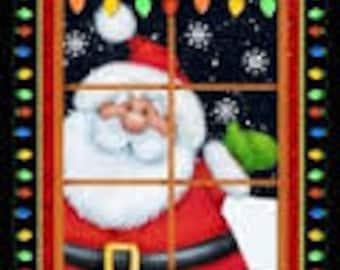 "Santa Fabric Panel / Jolly Ole St Nick Panel / Holiday Fabric Panels / Christmas Fabric Panel / 23"" Quilt Panel"