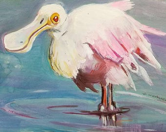 Spoonbill Smile Original Watercolor and Gouache Painting