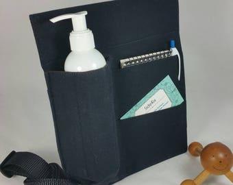 Massage Therapy Single 8oz bottle 2 pocket black cotton LEFT hip holster, black belt