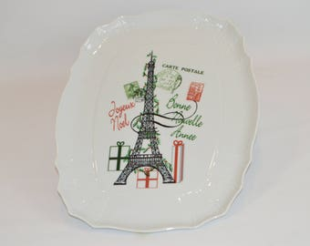 "Madeline 20"" White Platter (shown with image #x30 - Multi- color Eiffle Tower, Paris)"