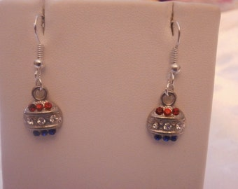 SALE!! Handmade, Silver Charm Earrings Made With Swarovski Rhinestones, 4th of July, July 4th, Holiday