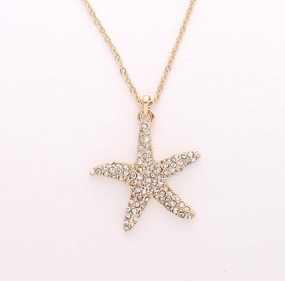 Bridesmaid Gifts Beach Wedding: Gold Starfish Necklace Beach Wedding Bridal Bridesmaid Gift