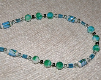 Blues and Aqua Spatter and Paper Bead Necklace