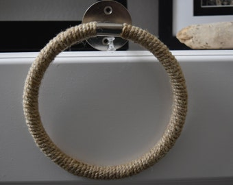 Jute Rope Wrapped Towel Ring Holder - Industrial Nautical Home Decor - Metal -  Towel Hanger