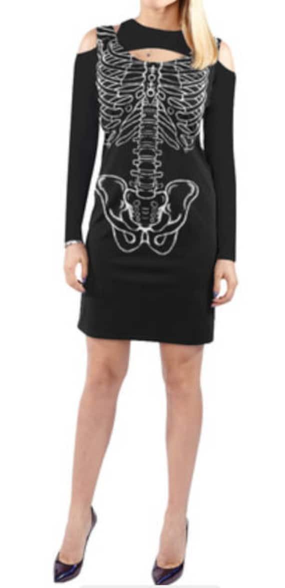 Skeleton Cold Shoulder Long Sleeve Dress
