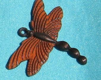 DRAGONFLY pendant , rust patina 2 pcs