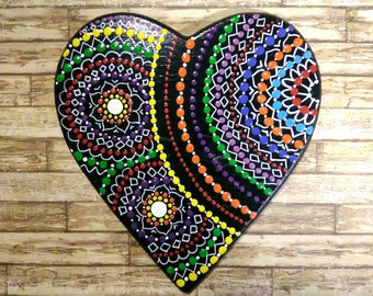 Hand painted wood heart with the technique of dot painting, mandala painted with acrylics on wooden base
