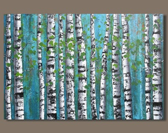 large abstract birch tree painting, birch tree forest, blue green, birch trees, 24x36, landscape painting, quaking aspens wall art on canvas