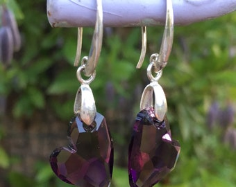 Amethyst Heart Swarovski Earrings Sterling Silver