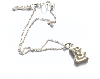 Sterling Silver Love Pendant Necklace  - HALLMARKED