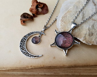 2 Star and Moon Necklaces, best friends gift idea, best friends jewelry, best friend necklaces, moon and star jewelry, sisters necklaces