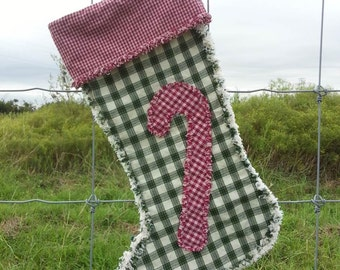 Candy Cane Christmas Stocking, Country Farmhouse, Rustic Holiday, Western Decor