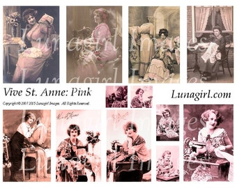 Pink SEWING LADIES digital collage sheet, vintage photos St Anne French postcards Victorian seamstress sewists altered art ephemera DOWNLOAD