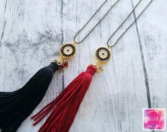 Tassel Necklace, Evil eye necklace, Enamel necklace, Gold necklace, Everyday necklace, Long Boho necklace, Simple necklace, Dainty, Fashion