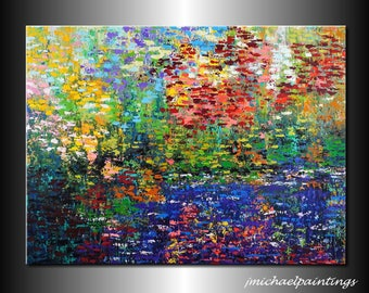 Impressionism Abstract Wildflower Flowers Palette Knife Painting Canvas Contemporary Water Landscape 30x40 Over the Couch Bed JMichael