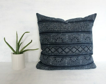 Indigo Thailand Pillow Cover / Hmong Hill Tribe Textile Shibori Ethnic Navy Blue Suns Print Euro Lumbar Thai Fabric Bedding Accent Natural