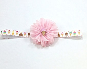 Ice Cream Headband, Pink Headband, Summer Headband, Pink Flower Headband, Pink Newborn Headband,  Ice Cream Clip, Pink Ice Cream Headband