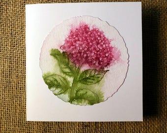 handmade card, mother's day card, blank card, birthday card, flower card, hydrangea card, thank you card