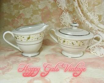 Barclay Creamer & Sugar Bowl, White Creamer and Sugar Bowl by Barclay, Porcelain Cream and Sugar Set, Vintage Creamer and Sugar Bowl Gift