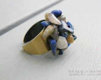 Lapis Lazuli and Labradorite ring, bronze adjustable wiring cluster ring, protection stones, boho chic, bohemian women jewelry