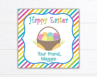 Printable EASTER Tag, Easter Stickers, Happy Easter Tag, Easter Party Favors, Easter Candy Tag, Easter Bag Topper, Easter Card