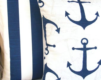 Navy Nautical Decorative Pillows Throw Pillow Cushion Covers Two Navy Stripe Beach Throw Pillow Couch Sofa Pillow Bed Coastal Cushion