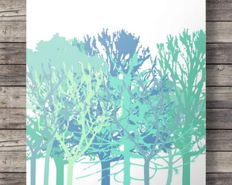 Trees art print Modern trees Blue green aqua Silhouette trees art print, abstract trees pattern print Printable wall art Instant download