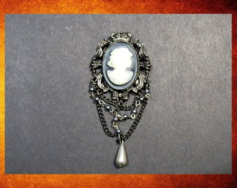 Pendant - Large Black and Grey Cameo 40x55mm Pendant with beads for jewelry making and crafts.  #PEN-306