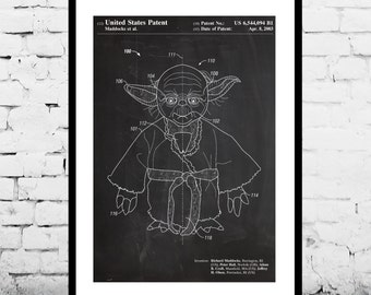 Star Wars Yoda Patent, Yoda Poster, Yoda Print, Yoda Art, Yoda Decor, Yoda Wall Art, Yoda Blueprint, patent, patent art, star wars
