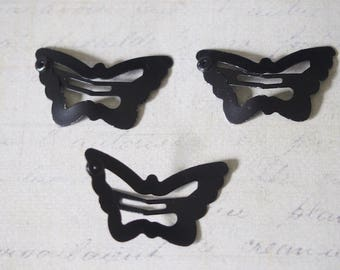 3 hair clips Butterfly gunmetal 30x18mm