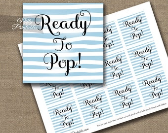 Ready To Pop Shower Favor Tags - Printable Blue & White Baby Shower Popcorn Favor Tags - Ready To Pop Baby Shower Decor - DSB