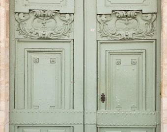 Mint Doorway - paris photography - paris decor - paris print - Door in Paris, France - green wall art - paris print, Ile St Louis