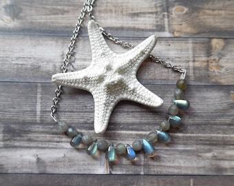 Labradorite Necklace, Labradorite Teardrop Necklace, Beaded Labradorite Necklace, Crystal Jewelry, Silver Labradorite Gemstone Necklace