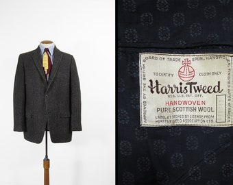 Vintage 60s Harris Tweed Jacket Black Wool Herringbone Sport Coat - Size 42