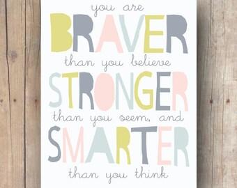 meilleur cadeau ami - Winnie l'ourson devis imprimable - plus courageux que vous croyez - citation - Winnie l'ourson sticker chambre d'enfant - kids room Decor