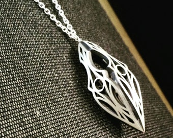 Long Sterling Silver Art Deco, Elvish Inspired Necklace