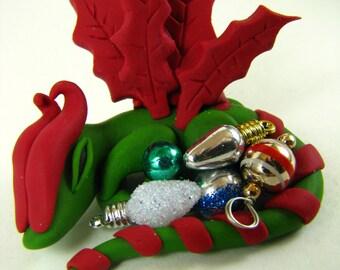 MADE TO ORDER**-Christmas Dragon-Polymer Clay Dragon- Dragon-1:12 scale