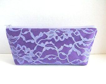 Satin And Lace Clutch - Bridesmaid Makeup Bag - Wedding Clutch - Purple Clutch - Bridesmaid Clutch - Lavender Clutch - Bridesmaid Gift