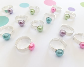 Adjustable Pearl Ring, Party Favor, Party Bag Filler, Girl Party Favor, Kids Party Favor, Birthday Favors, Party Favors, Loot Bag Filler