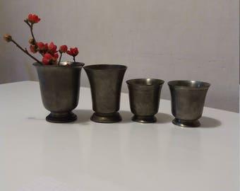 Set of 4 goblets Tin