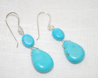 Silver and Turquoise Earrings Dangling, Dangling Turquoise Earrings