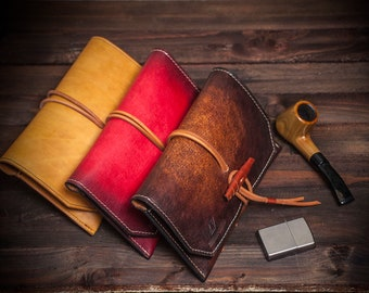 Leather Pipe case, Tobacco Pouch Case Holder, leather Pipe Roll, leather pipe holder, leather pipe bag, gift for dad, gift for him