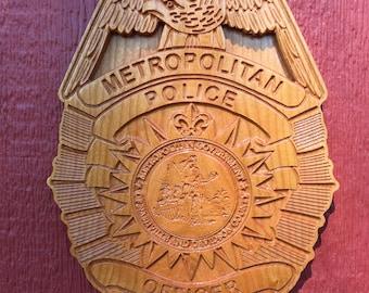 """Nashville - Metro police badge plaque - Cherry - 9.5"""" x 13"""" x 7/8"""" thick"""