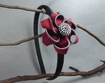 Red Flower Headband- Upcycled - Recycled - Repurposed - Flower Headband- Zipper clip- Zipper Headband- Zipper Flower - Flower Headband